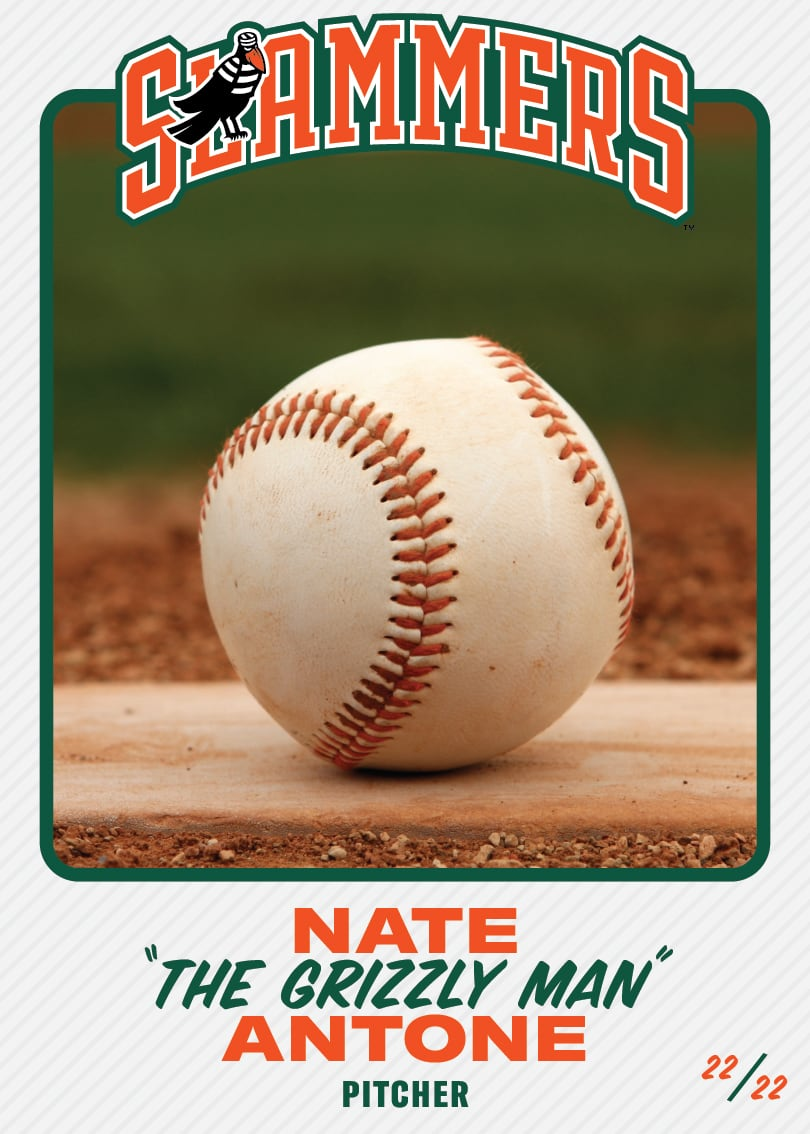 "The front of the baseball card for Nate ""The Grizzly Man"" Antone, whose position is pitcher. This card is #22/22."