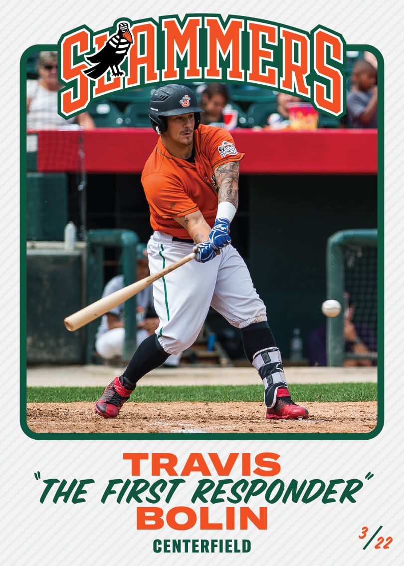 "The front of the baseball card for Travis ""The First Responder"" Bolin, whose position is centerfield. This card is #3/22."