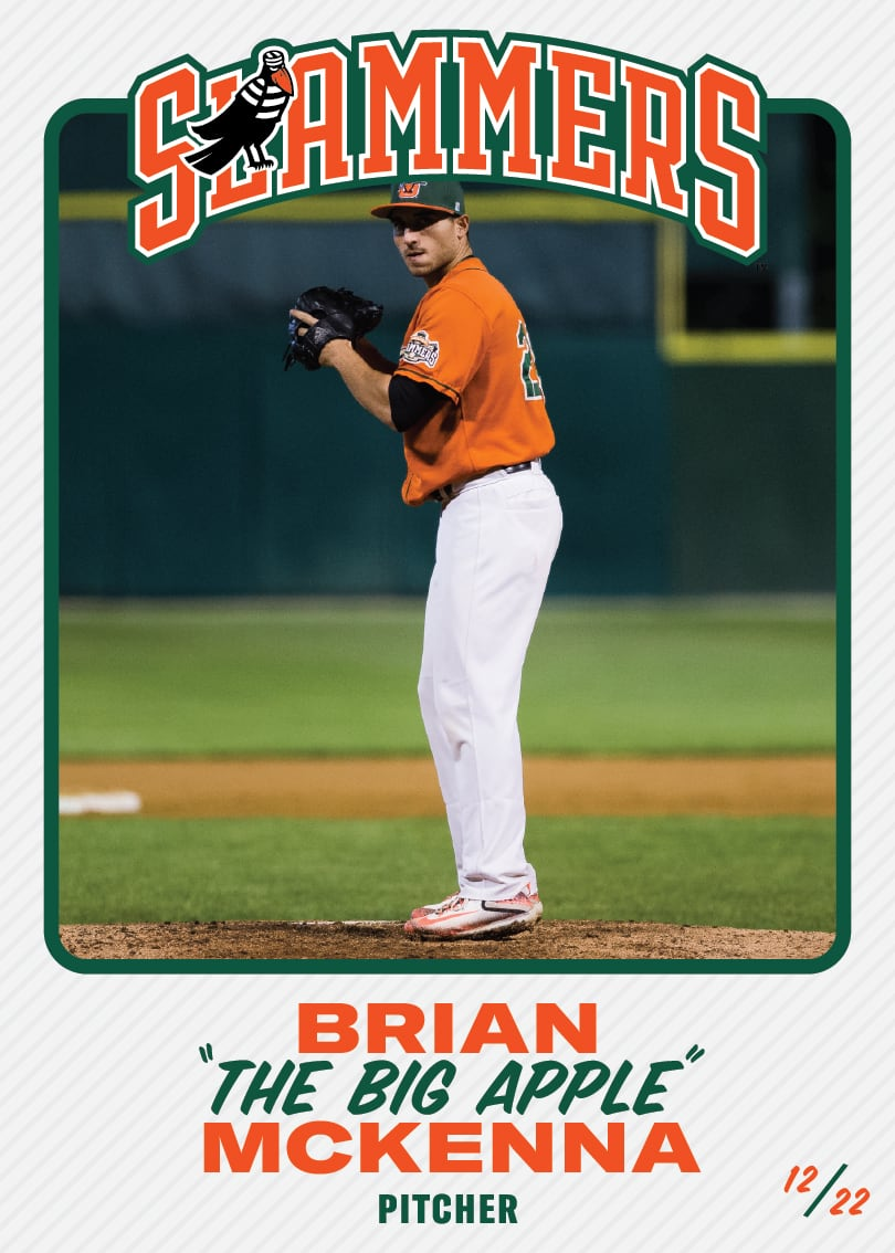 "The front of the baseball card for Brian ""The Big Apple"" McKenna, whose position is pitcher. This card is #12/22."