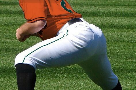 The full buttocks of a true baseball boy