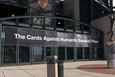 The entrance to the Cards Against Humanity Baseball Place